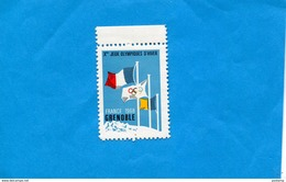 """ERINNOPHILIE- Vignette Neuve  ***sans Ch  """"Jeux Olympiques  D'hiver- Grenoble  1968 - Sports"""