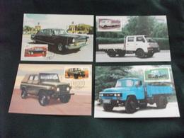 4 Cartoline Postali  POSTE CINA CHINA MAXIMUM AUTO CAR REG FLAG JEEP CAMION - Camion, Tir