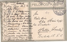 ALLEMAGNE 1916 FELDPOSTKARTE POUR HALLE - Allemagne