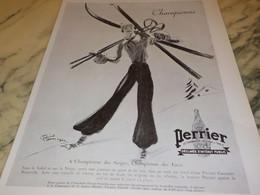ANCIENNE PUBLICITE CHAMPIONNE DES NEIGES  PERRIER   1936 - Perrier