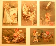 CPA / Lot De 29 Cartes Postales Anciennes Gaufrées (embossed) / Anges Angelots Et Alphabet - Angels
