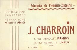 """CPA / CARTE DE VISITE FRANCE 42 """"Firminy, Entreprise De Plomberie Zinguerie"""" - Firminy"""