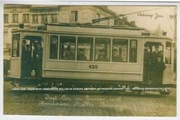 FIRST CAR / TRAM WITH HENDERSON ROLLER IN EUROPE ANTWERP ANTWERPEN ANVERS 1907 / REPRODUCTIE FOTO - Antwerpen