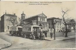 D 75  PARIS  19eme  Placede Bitche  Eglise Saint Jacques  (Autocarts... Animee) - Arrondissement: 19