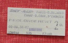 Ticket De Train Paris Gare Du Nord - Banlieue (prolongement) - 1988 - Autres