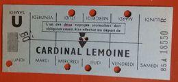 Carte Hebdomadaire RATP étudiant Cardinal Lemoine - Après 1961 - Week-en Maandabonnementen