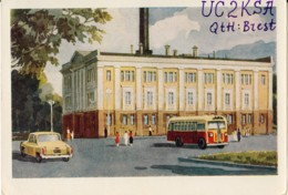 Moscow - The First Atomic Power Station In The World - Bus - UC2KSA Brest - QSL Card - 1959 - Russia USSR - Used - Carte QSL