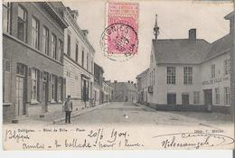 DOTTIGNIES. CPA Voyagée En 1904 Hôtel De Ville - Place (au Dos Timbres Taxe 5 Centimes) - Belgium