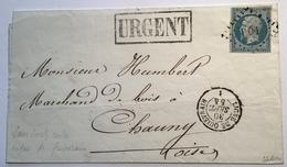 Ambulant RRR ! Losange Romaine PQ1 + LIGNE DE QUIEVRAIN 1854 Yv 14 Lettre(France Railroad TPO Cover Chemin De Fer Nord - Postmark Collection (Covers)