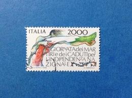 1986 ITALIA GIORNATA DEI MARTIRI E DEI CADUTI FRANCOBOLLO USATO ITALY STAMP USED - 6. 1946-.. Republic