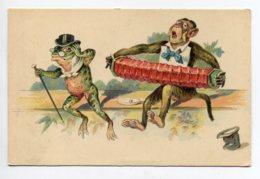 SINGE Et GRENOUILLE  Humanisés  Joueur De Musique Sur Un Banc  1910   D02 2020 - Scimmie