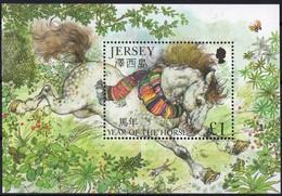Jersey 2002 Yvertn° Bloc 41 *** MNH Cote 5,00 Euro Année Du Cheval Paard Horse - Jersey