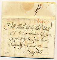 1791 REGNO DI NAPOLI LA POSTA NAPOLETANA A ROMA DA TORINO A NAPOLI TORINO LINEARE ROSSO  PREFILATELICA CON TESTO - 1. ...-1850 Prefilatelia