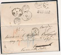 1862 DA ANCONA PRIMA A MONACO POI RISPEDITA A ISCHL VARIE TASSE E BEL GIRO POSTALE - 1. ...-1850 Prefilatelia