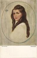 """""Corneille Max. Girl With Long Hair.. Studientpf"" Fine Painting, Vintage German Postcard - Niños"