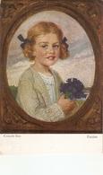 """""""""""Corneilles Max. Girl With Rflowers. Enzian. Studientpf"""" Fine Painting, Vintage German Postcard - Niños"""