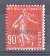 Andorre  12 Semeuse   Neuf Avec Trace De Charnière * TB MH Con Charmela Cote 45 - French Andorra