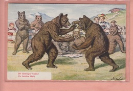 OLD POSTCARD -  ILLUSTRATED    GEHRI - SWITZERLAND - BEAR - FIGHTING - SWINGEN - Illustratori & Fotografie