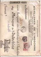 3 Lettres De Saigon Pour La France 1940 Distilleries De L Indochine Par Bateau Via Madagascar Censurebritannique - Indochine (1889-1945)
