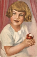 """Girl Eating An Apple"" Fine Painting, Vintage German Postcard - Bambini"
