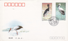 China, Birds, Storks, FDC - Lettres & Documents