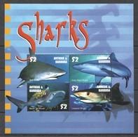 PK060 ANTIGUA & BARBUDA MARINE LIFE SHARKS 1KB MNH - Marine Life