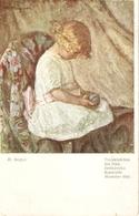 """M. Magyar. Little Girl. Mauvaise Tete"" Fine Painting, Vintage German Postcard - Niños"