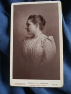 Photo CDV  Bellingard à Lyon  Beau Portrait Jeune Femme (profil)  CA 1890 - L481E - Photos