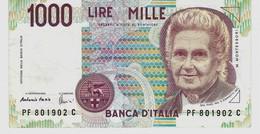 ITALIE –1000 Lires (M. MONTESSORI) - [ 2] 1946-… Republik