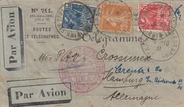 TELEGRAMME PAR AVION Affr Y&T 235 + 272 + 273 Obl STRASBOURG TELEGRAPHE Du 6.10.31 Adressé à Hambourg - Marcofilia (sobres)