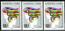 A13-36-9) UNO Genf - 3x Mi 126 - ** Postfrisch (A) - 120c       Jahr Der Jugend - Genf - Büro Der Vereinten Nationen