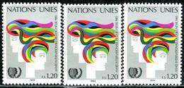 A13-36-9) UNO Genf - 3x Mi 126 - ** Postfrisch (B) - 120c       Jahr Der Jugend - Genf - Büro Der Vereinten Nationen