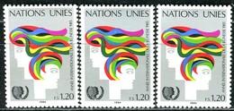 A13-39-1) UNO Genf - 3x Mi 126 - ** Postfrisch (C) - 120c       Jahr Der Jugend - Genf - Büro Der Vereinten Nationen