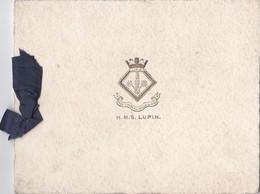 Photo Unique Vers 1910 Meilleurs Voeux Du Capitaine Et Ses Officiers : Cuirassé ? H.M.S LUPIN - Guerre