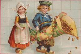 Hollandse Klederdracht Folklore Costume Dutch Klompen Logs Children Enfants CPA Carte Fantaisie Cornucopia Kinderen - Neujahr
