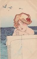 Illustratori - Illustrateur - Kirchner R.  - Volto Di Ragazza Al Mare   - Firmata Raphael Kirchner - Molto Bella - Kirchner, Raphael