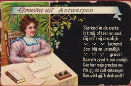 GROETEN UIT ANTWERPEN 1910 Lady Writing Letter Lettre Ecrivant Femme Fille Encre Ink Set Inktset - Antwerpen