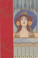 Illustratori - Illustrateur - Kirchner R.  - Volto Di Ragazza Su Sfondo Rosso - Firmata Raphael Kirchner - Splendida - Kirchner, Raphael