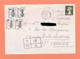 LETTRE DE 1989 DU ROYAUME UNI TAXEE A 6F 60 - 1960-.... Cartas
