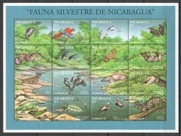 PK205 1994 NICARAGUA FAUNA SILVESTRE ANIMALS BIRDS REPTILES 1SH MNH - Sellos