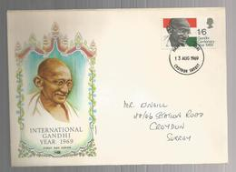Great Britain 1969 Mahatma Gandhi FDC - 1952-.... (Elizabeth II)