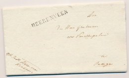 Nederland - 1822 - Langstempel HEERENVEEN - Zwart - Op Complete Vouwbrief Naar Oudega - Nederland