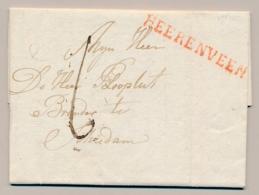 Nederland - 1820 - Langstempel HEERENVEEN - Rood - Op Complete Vouwbrief Naar Schiedam - Nederland