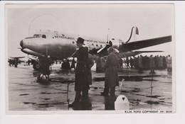 Vintage Rppc KLM K.L.M Royal Dutch Airlines Douglas Dc-4 NCAT @ Schiphol Amsterdam Airport - 1919-1938: Between Wars