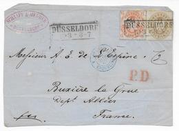 1864 - PREUSSEN - BEL AFFR. Sur DEVANT De LETTRE (VORDERSEITE) De DÜSSELDORF => BUXIERE ALLIER ENTREE Par ERQUELINES - Briefe U. Dokumente