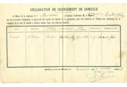 Changement Domicile 1904. Boussois (Nord) Vers Bersillies Belgique. Cornet. - Documents Historiques