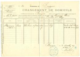 Changement Domicile 1909. Bousignies (Nord) Vers Bersillies L'Abbaye Belgique. - Documents Historiques