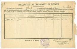 4 Doc. Changement Domicile Colleret (Nord) Vers Bersillies Belgique 1902/05. - Documents Historiques