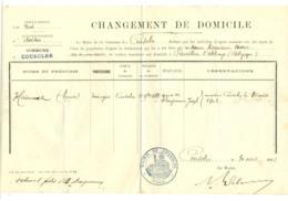 7 Doc. Changement Domicile. Cousolre (Nord) Vers Bersillies L'Abbaye Belgique. - Documents Historiques