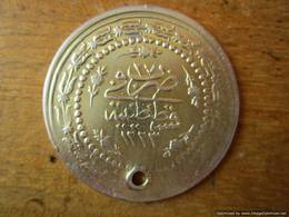Turkey Ottoman Empire, 6 Piastres 1223/27, Mahmud II, Silver 11.88 G - With Hole, Gilded! - Islamitisch
